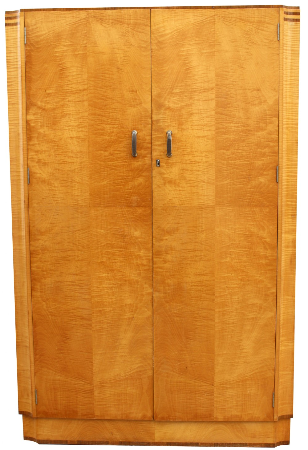 art deco blonde tiger grain birch double wardrobe c1930