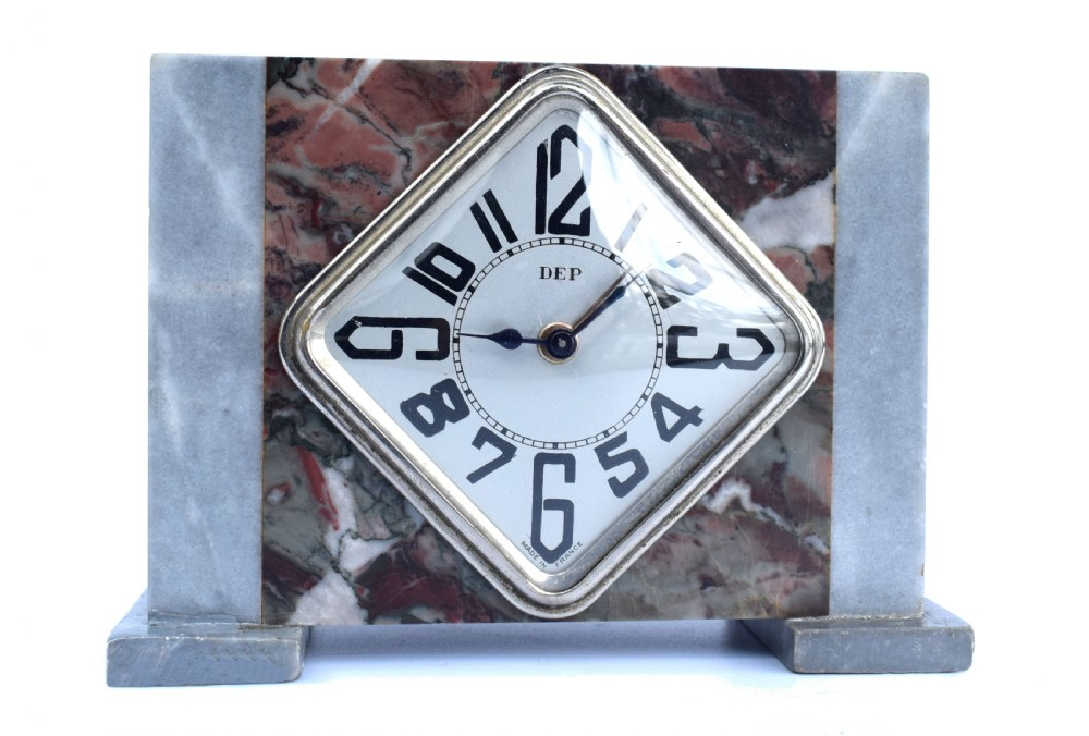 art deco french marble clock by dep c1930's