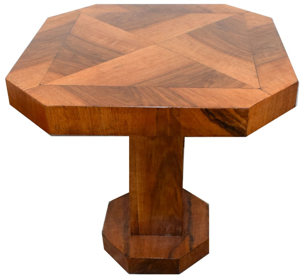 art deco walnut coffee table c1930