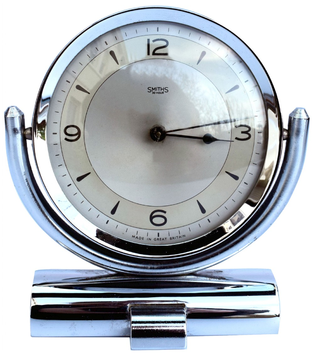 art deco smiths chrome table clock c1930