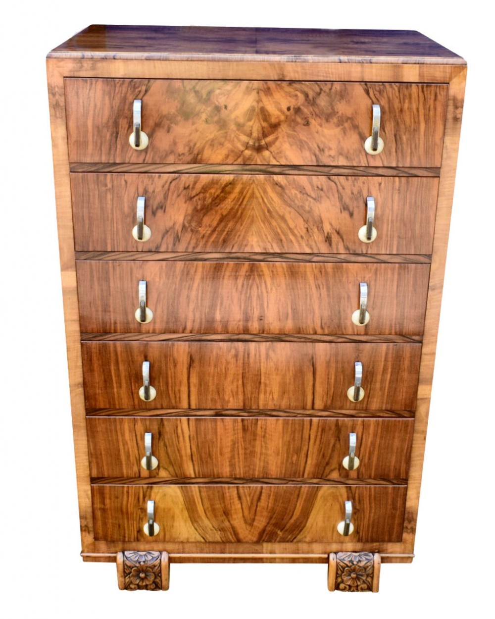 art deco figured walnut chest of six drawers 1930's