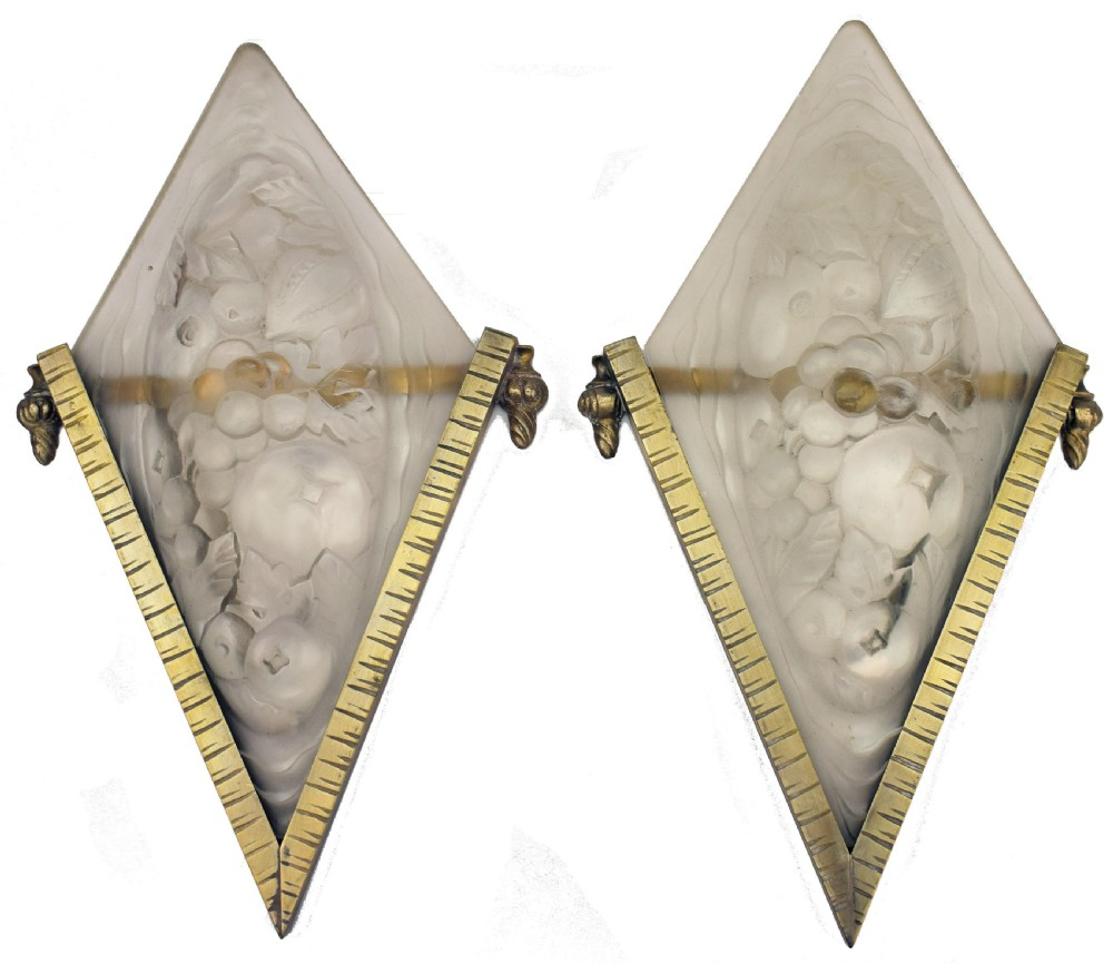 art deco pair of french bronze glass wall lights c1930