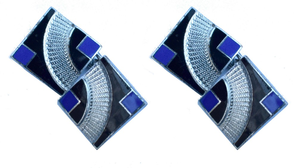 art deco modernist matching pair of enamel gents cufflinks circa 1930